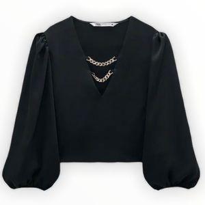 Zara Women's Black Chain Detail Top